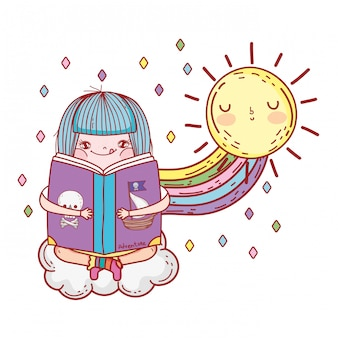 Girl reading book with rainbow and sun kawaii