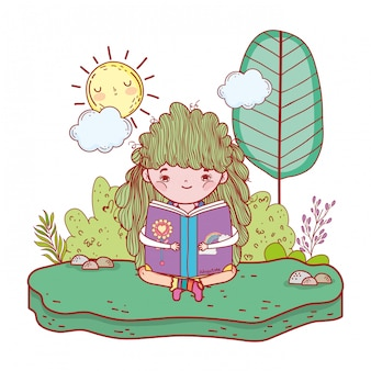 Girl reading book with sun kawaii in the field