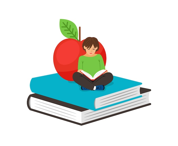Girl reading. cute serious girl kid sitting on textbooks next to apple vector illustration