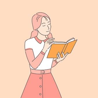 Девушка, читающая бумажную книгу мультфильм иллюстрации. женщина, наслаждаясь роман концепции набросков.
