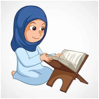 Girl reading quran the holy koran book of islam cartoon illustration vector