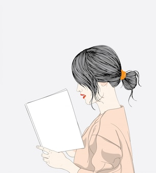 Girl reading spring holiday book