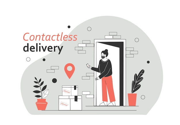 The girl receives the parcels by contactless delivery without crossing the courier. protection form covid-19 or coronavirus. flat vector illustration.