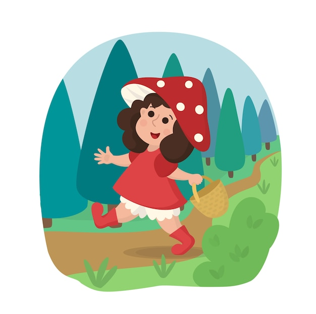 A girl in a red dress walks through the woods with a basket. cheerful child in a cap made of fly agaric.