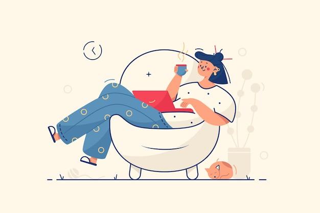 肘掛け椅子のイラストでリラックスした女の子
