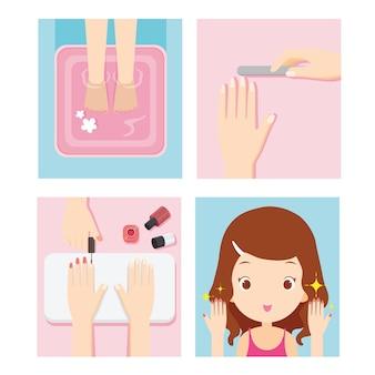 Girl relaxing in nail salon
