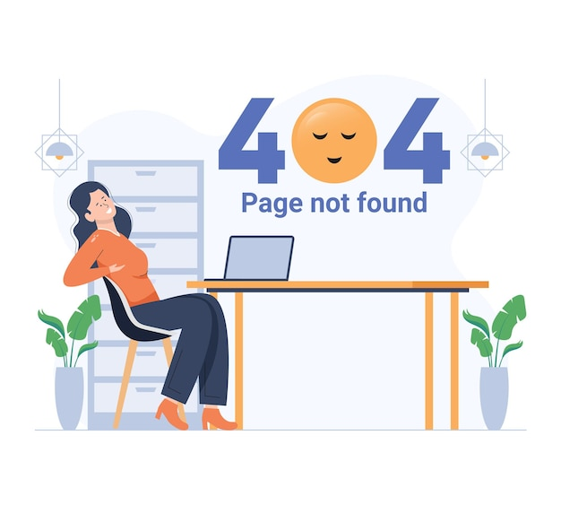 Girl relaxing while 404 error in result