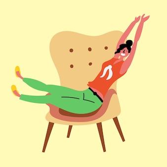 몸을 스트레칭 소녀 휴식 의자