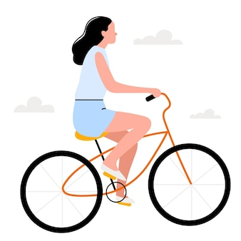 Girl on a retro bicycle in a flat styleplaying sports walking in the fresh air summer dayscandin