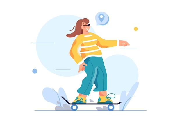 女の子はサングラスをかけてスケートボードに乗る