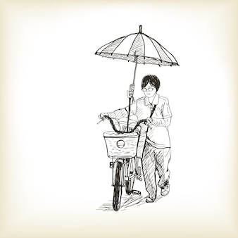A girl riding bicycle to market and adapting umbrella on bicycle, free hand drawing sketch   illustration
