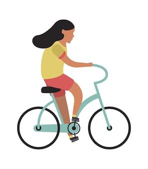 自転車に乗る女の子。シンプルな若いキャラクターのサイクリストのティーンエイジャーが自転車に乗る。公園での野外活動、健康的なレジャーライフスタイル。フラットベクトル漫画孤立したイラスト