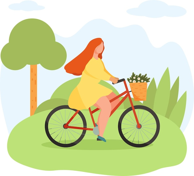 Girl riding bike with basket full of flowers in summer landscape with trees and leaves