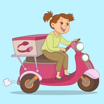 A girl riding a delivery scooter