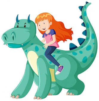 Girl riding on dinosaur cartoon character isolated on white background