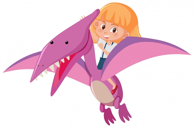 A girl riding dinosaur