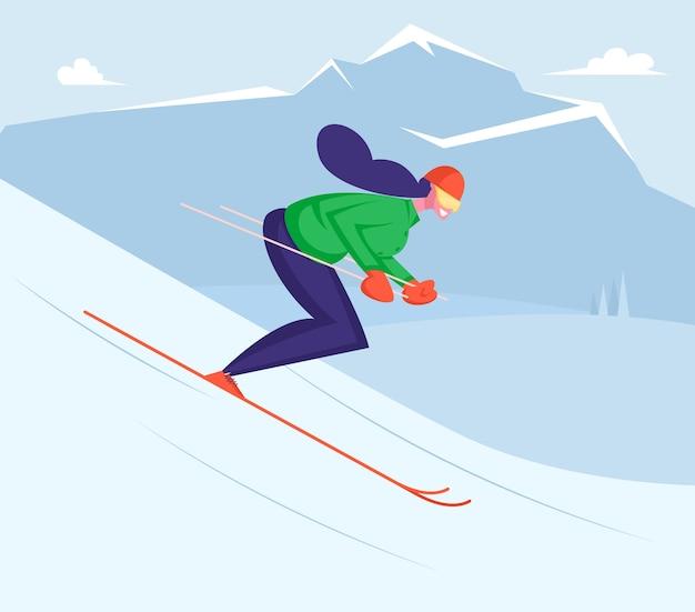 冬の楽しみと余暇を持っているスキーで下り坂に乗る少女