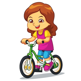 Girl riding new green bicycle.