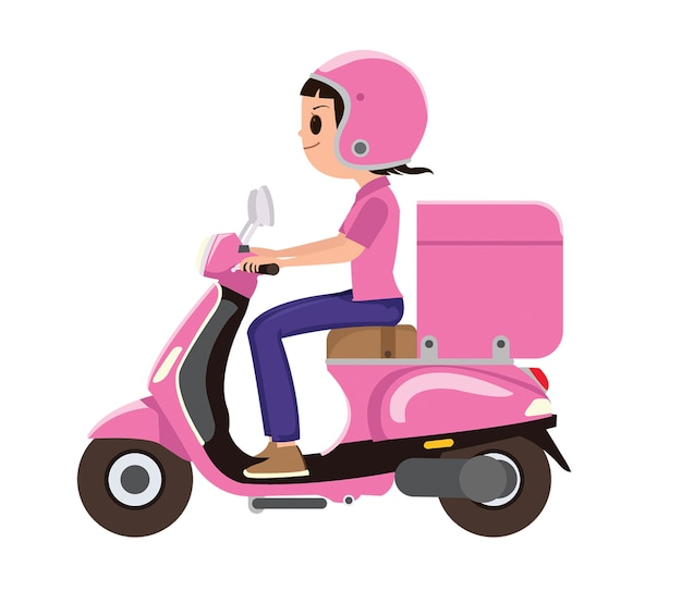 A girl riding a pink delivery scooter