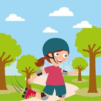 女の子、乗馬、ローラー、スケート、スポーツ、子供、活動、風景
