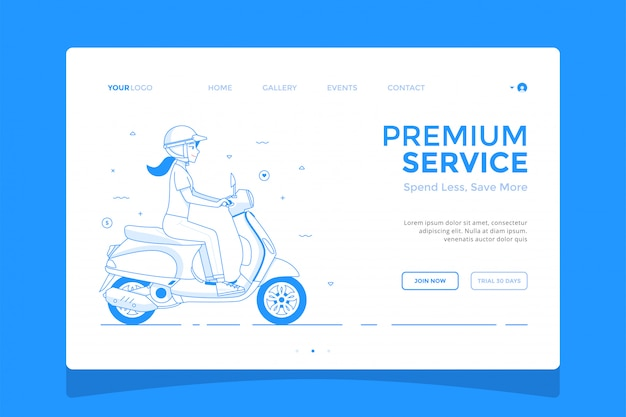 Girl riding a scooter landing page concept illustration