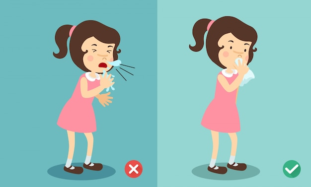 Girl right and wrong sneezing in hand and handkerchief