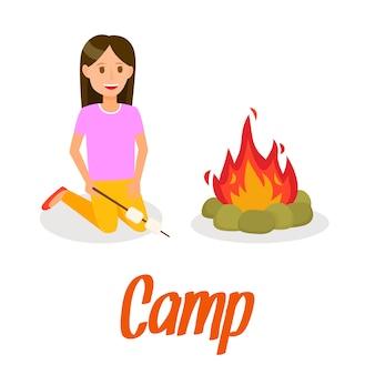 Girl roasting marshmallow on bonfire illustration.