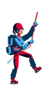 彼女の背中の後ろにバックパックを持つスポーツ用品の女の子ロッククライマーが登る、漫画のベクトルイラストが分離されました