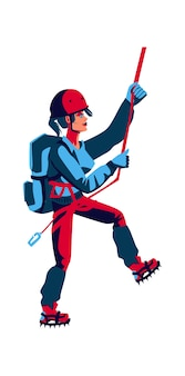 Girl rock climber in sports equipment with a backpack behind her back climbs up, cartoon vector illustration isolated