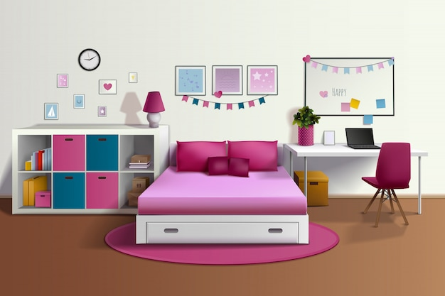 Girl room realistic interior with pink bed chair bookshelf photo frames desk