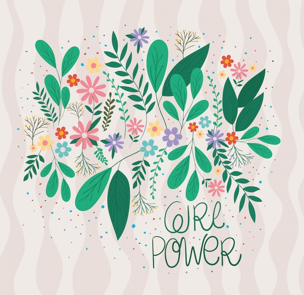 Girl rules with leaves and flowers vector design