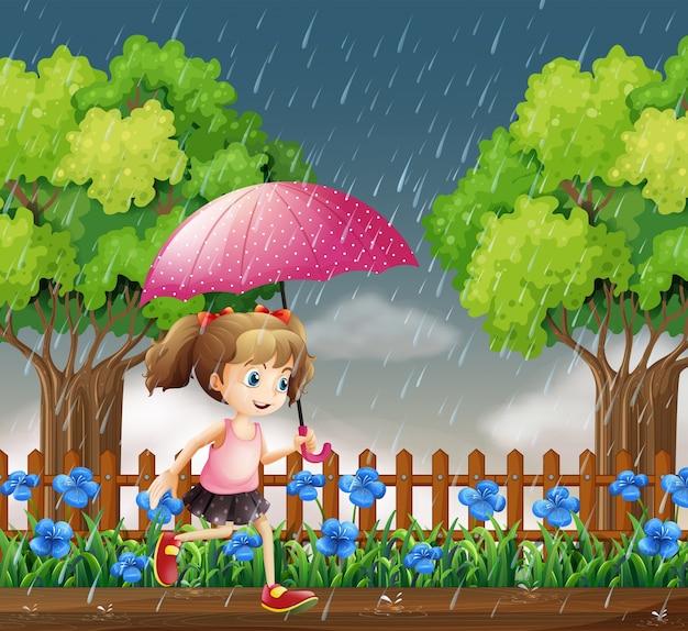 雨の中で走っている女の子