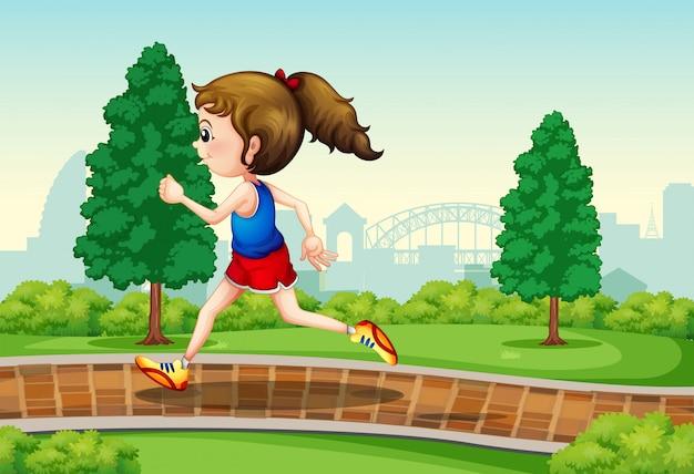 Girl running in park scene