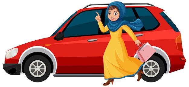 車に走っている少女