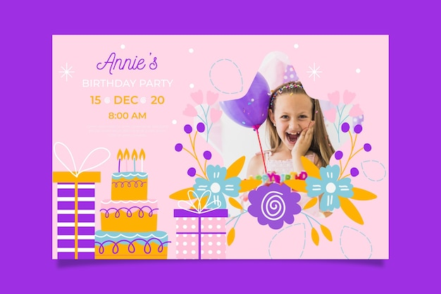 Girl's birthday invitation template with image