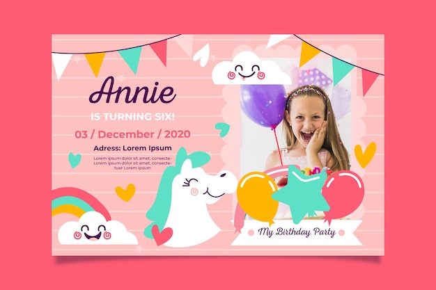 Girl's birthday invitation template with picture