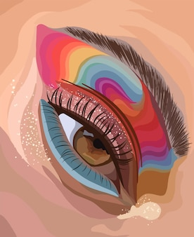 Глаз девушки с радужными тенями и блестками. векторная иллюстрация моды