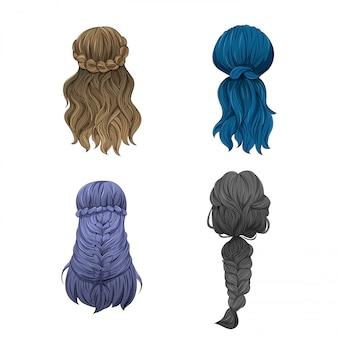 여자의 머리 다양한 스타일.