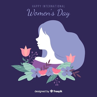 Girl's silhouette with flowers women's day background