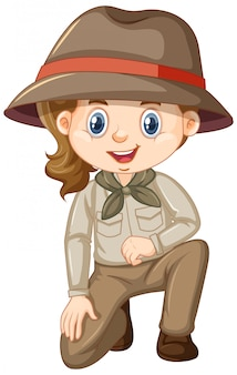 Girl in safari costume on white