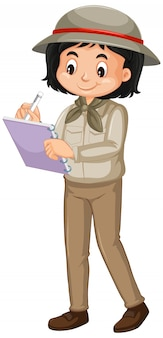Girl in safari costume writing isolated