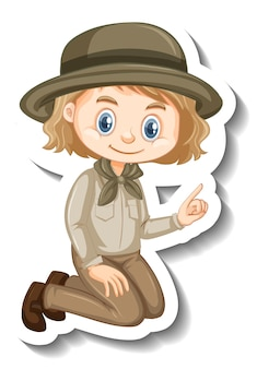 Girl in safari outfit cartoon character sticker