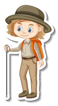Ragazza in costume da safari adesivo personaggio dei cartoni animati