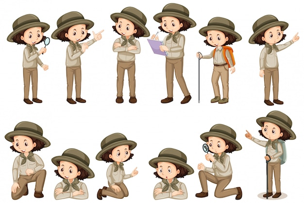 Girl in safari outfit doing different poses