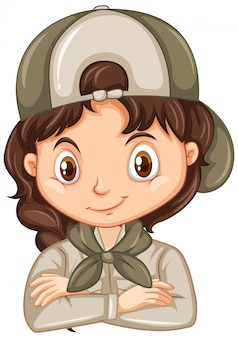 Girl in safari outfit isolated