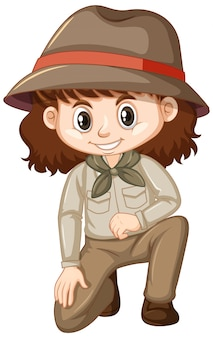 Girl in safari outfit on white background