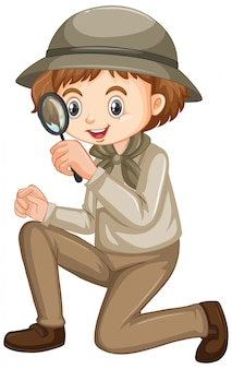 Girl in safari outfit with magnifying glass on white background