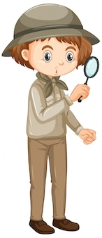 Girl in safari outfit with magnifying glass on white