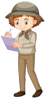 Girl in safari outfit writing note on white background