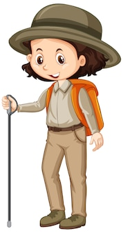 Girl in safari outfit